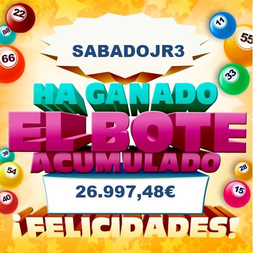 Sabadojr3 fue el ganador delbote acumulado