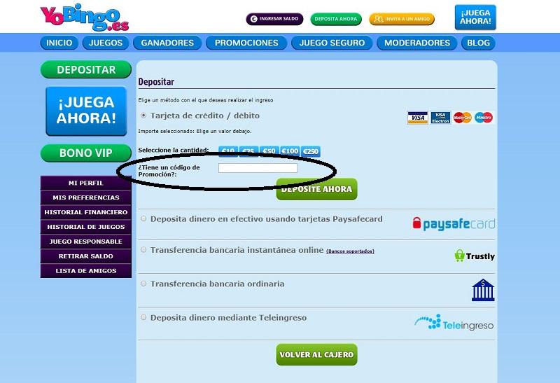 Códigos promocionales para Bingo Online