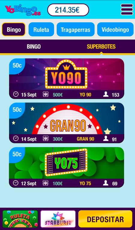 Salas de bingo especiales en YoBingo