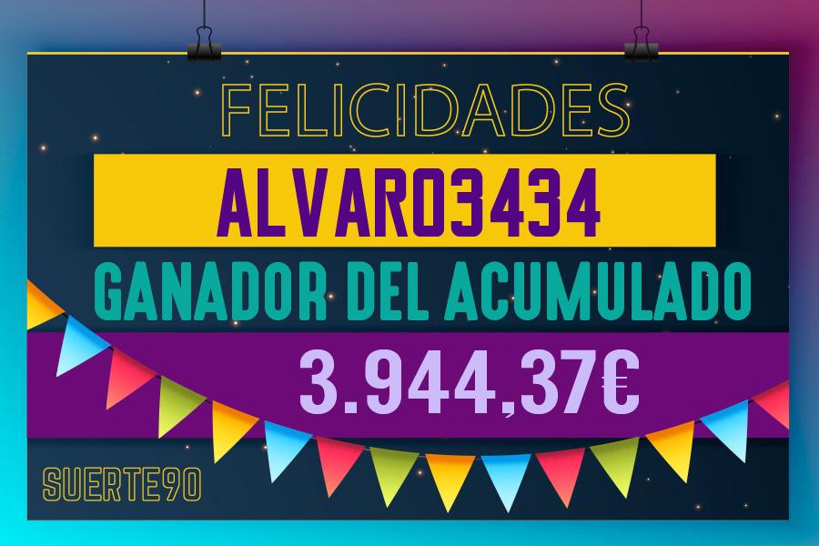 Alvaro3434 ha ganado el bote acumulado de SUERTE90