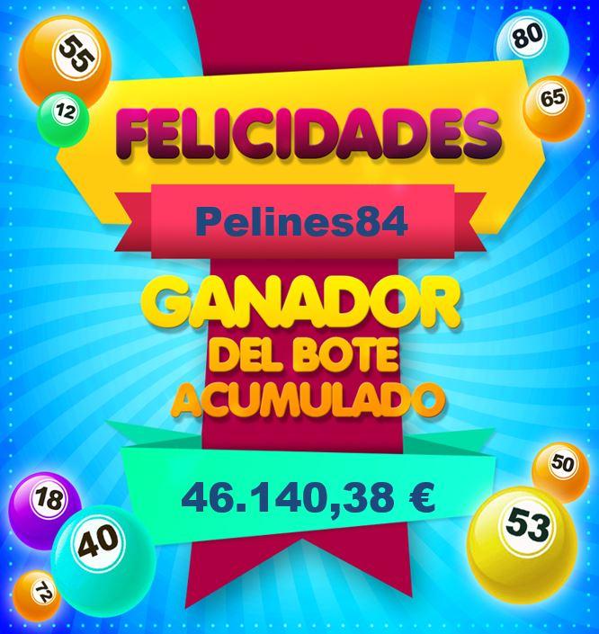 Pelines84 ganador bote bingo online