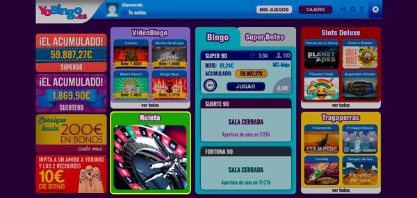 Lobby de juegos online en YoBingo