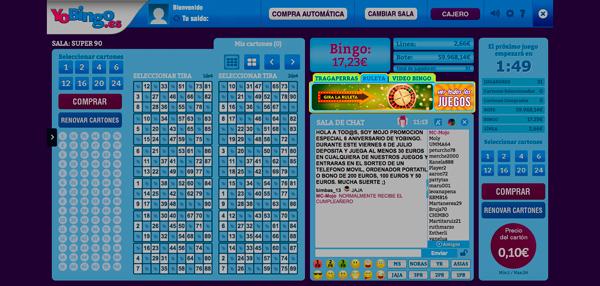 Acceso a la ruleta online desde sala bingo