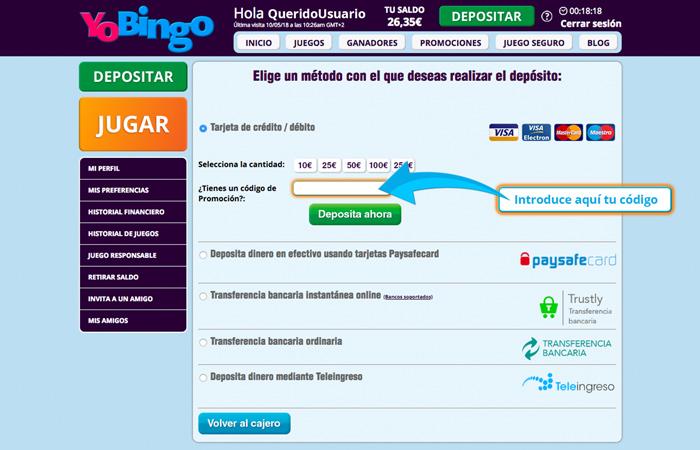 Bonos promocionales para bingo online