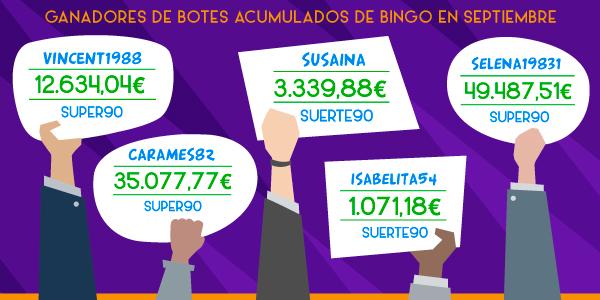 Ganadores botes acumulados de bingo
