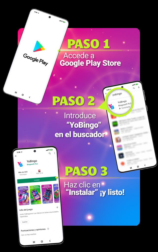 Imagen explicativa de cómo descargar la aplicación de YoBingo desde Google Play Store.